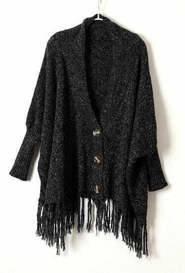 Black Long Sleeve Tassel Batwing Buttons Cardigan Sweater