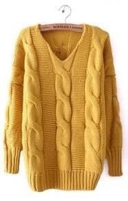 Yellow Batwing Long Sleeve V-neck Cable Sweater
