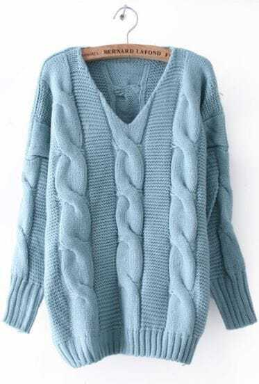 Blue Batwing Long Sleeve V-neck Cable Sweater