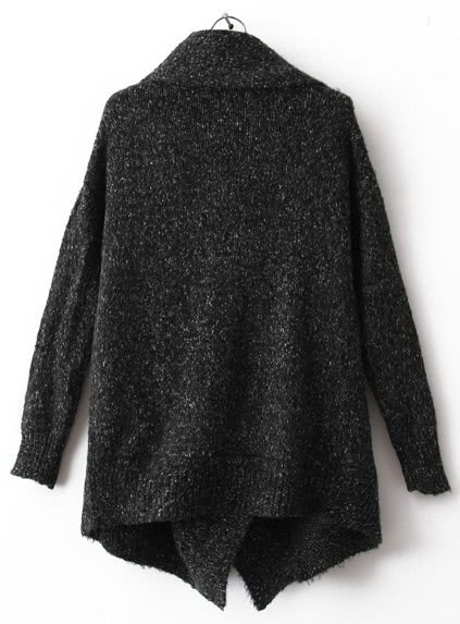 Black Lapel Long Sleeve Ouch Cardigan Sweater -SheIn(Sheinside)