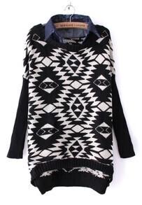 Black Contrast Lapel Long Sleeve Diaper Sweater