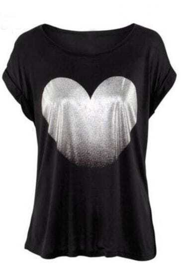 Black Round Neck Short Sleeve Heart Print T-Shirt