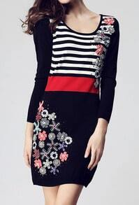 Multi Round Neck Long Sleeve Striped Flowers Dress