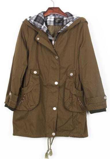 Army Green Plaid Lining Hood Drawstring Hem Coat