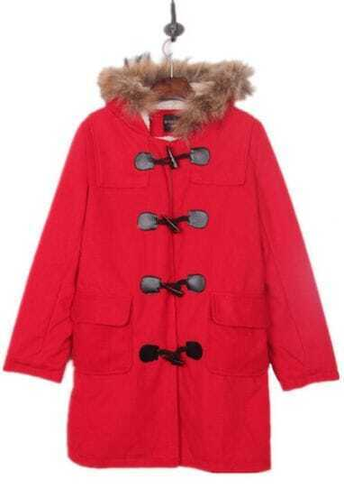 Red Faux Fur Trimmed Hood Duffle Wool Coat
