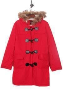 Red Faux Fur Trimmed Hood Duffle Wool Coat