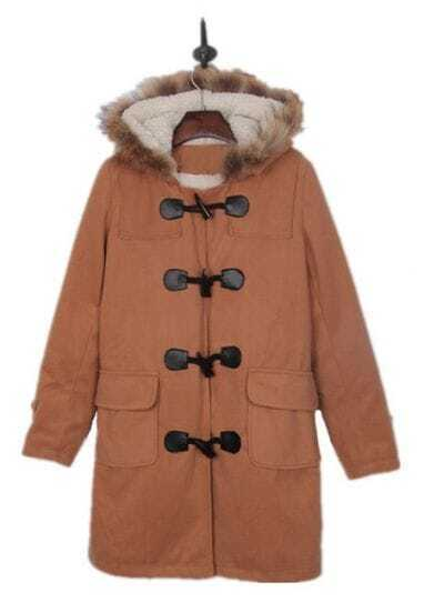 Apricot Faux Fur Trimmed Hood Duffle Wool Coat