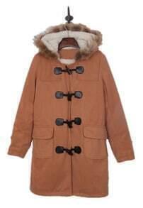 Apricot Faux Fur Trimmed Hood Duffle Wool Coat