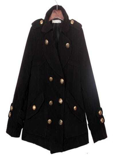 Black Epaulet Military Oversized Wool Pea Coat