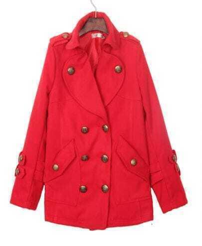Red Epaulet Military Oversized Wool Pea Coat
