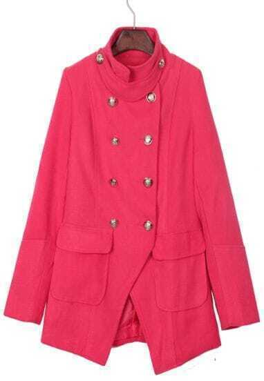 Rose Red Band Collar Military Asymmetric Hem Wool Coat