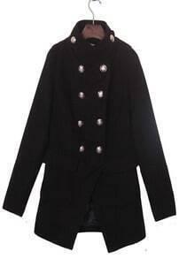 Black Band Collar Military Asymmetric Hem Wool Coat