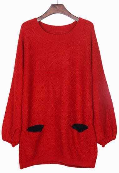 Red Round Neck Contrast Red Pocket Front Sweater