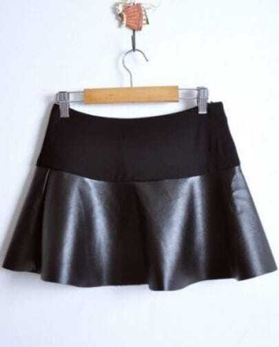 Black High Waist Contrast PU Leather Skater Skirt -SheIn(Sheinside)