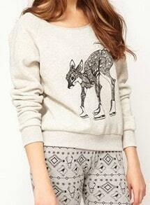 Light Grey Long Sleeve Deer Print Bow Sweatshirt