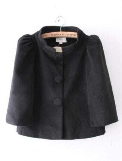 Black Puff Sleeve Single Breasted Cape Coat
