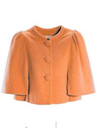 Orange Puff Sleeve Single Breasted Cape Coat