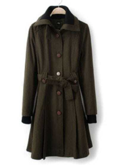 Green Long Sleeve Drawstring Waist Pleated Trench Coat