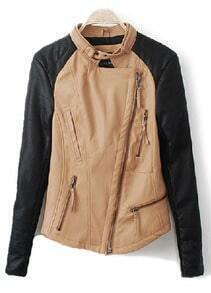 Camel Contrast PU Leather Long Sleeve Zipper Coat