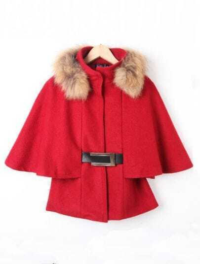 Wine Red Fur High Neck Batwing Crop Cape Coat