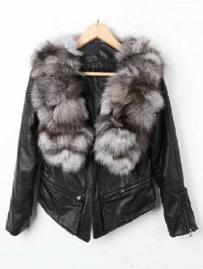 Black Fur Neck Long Sleeve PU Leather Crop Coat