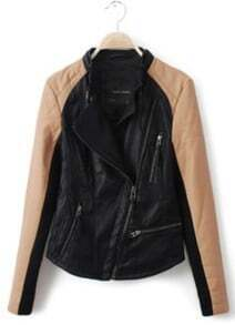 Black Contrast Kakhi Long Sleeve PU Leather Jacket