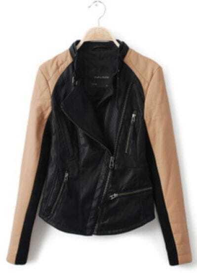 Black Contrast Kakhi Long Sleeve PU Leather Jacket