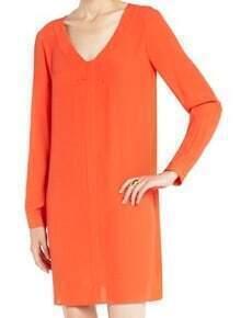 Orange V Neck Long Sleeve Loose Chiffon Dress