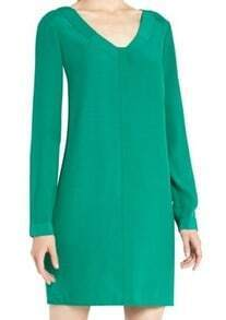 Green V Neck Long Sleeve Loose Chiffon Dress