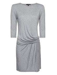 Grey Round Neck Half Sleeve Pleated Dress