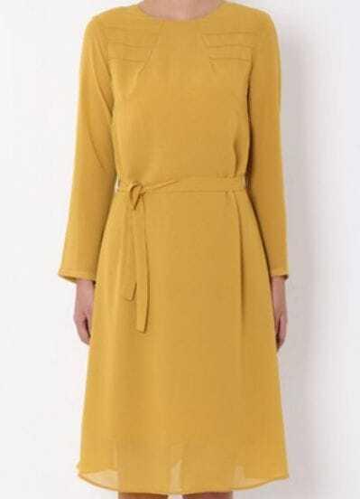 Yellow Long Sleeve Zipper Drawstring Waist Dress