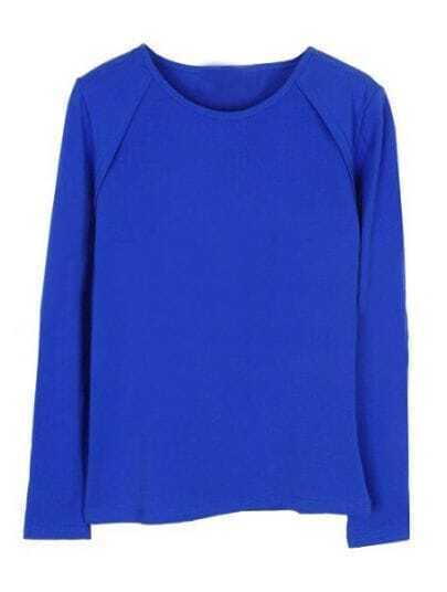 Blue Round Neck Split Long Sleeve T-Shirt