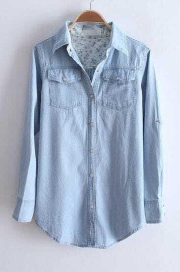 Light Blue Lapel Long Sleeve Pearls Buttons Denim Blouse