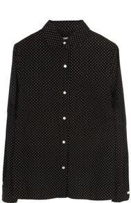 Black Lapel Long Sleeve Polka Dot Pocket Blouse