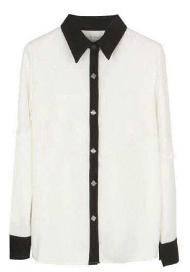 White Lapel Long Sleeve Contrast Trims Blouse