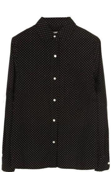Black Lapel Long Sleeve Polka Dot Pocket Blouse