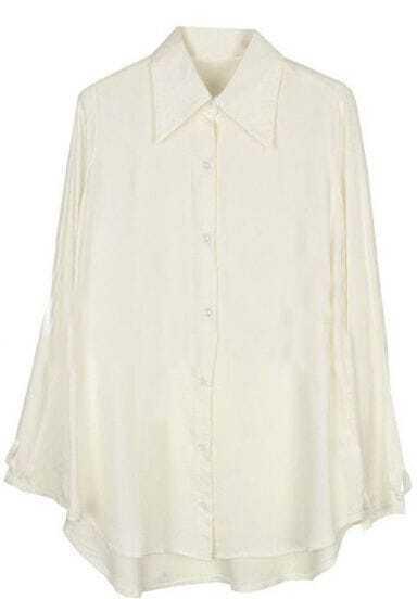 White Lapel Long Sleeve Asymmetrical Loose Blouse