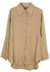 Khaki Lapel Long Sleeve Asymmetrical Loose Blouse