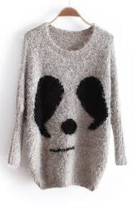 Beige Long Sleeve Panda Print Batwing Mohair Sweater