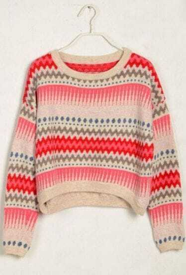 Red Long Sleeve Striped Crop Pullovers Sweater