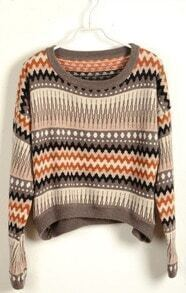 Coffee Long Sleeve Striped Crop Pullovers Sweater