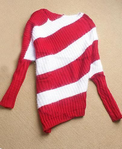 Red White Striped Long Sleeve Asymmetrical Sweater