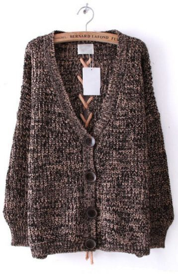 Pink Long Sleeve Back Lacing Loose Cardigan Sweater