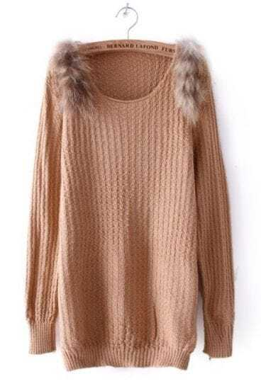 Khaki Long Sleeve Shoulder Fur Embellished Sweater