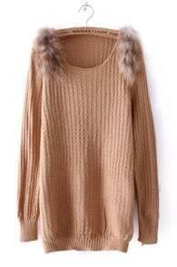 Khaki Long Sleeve Shoulder Fur Embellished Sweater