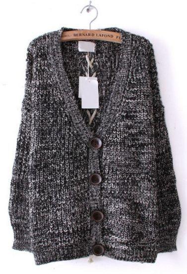 Dark Grey Long Sleeve Back Lacing Loose Cardigan Sweater