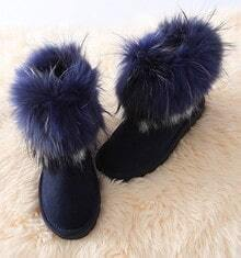 Navy Angola Fur Mini Snow Boots