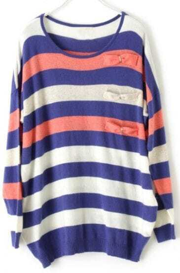 Blue and Pink Contrast White Striped Bowknot Knitted Jumper