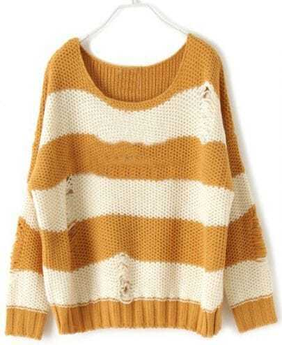 Khaki and Beige Striped Chunky Knitted Shredded Sweater