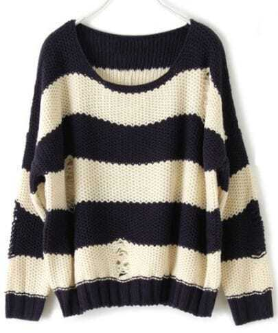 Navy and Beige Striped Chunky Knitted Shredded Sweater